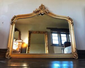 Large Antique Gold Gilt French Swept Ornate Period Over Mantle Arch Wall Mirror