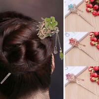 Colorful Rhinestone Women Chignon Hair Stick Bobby Pin Flower Hairpin Fashion
