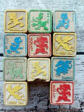 11 Vintage Wooden Toy Building Blocks Alphabet Pictures Disney 1930's-40's