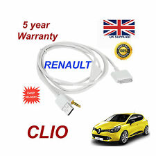 Renault Clio Audio System iPhone 3GS 4 4S iPod USB & 3.5mm Aux Cable white