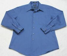 Arrow Fitted Cotton Polyester Pocket Dress Shirt Button Up Blue Top 17.5 34/35