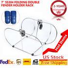 "SS304 Folding Double Fender Holder Rack Fits for less than 7"" Boat Fenders"