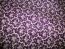 """Dark Purple with White small Leaf Design, 3 Yards & 18 in. Uncut, 44 """" wide"""