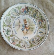 Wedgwood Plate Peter Rabbit Wishes You A Very Happy Birthday 1994 Beatrix Potter