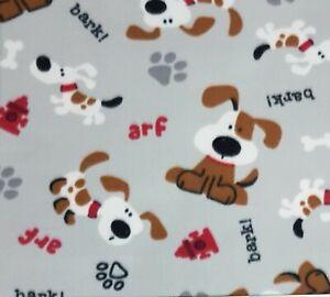 3.65m Remnant cute dogs paws bones Grey Joann Blizzard polar fleece 148cm wide