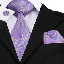 Classic Men's Purple Paisely Tie Set Jacquard Woven Silk Wedding Necktie SN-364