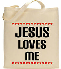 JESUS LOVES ME Christian Blessings Grace Natale Battesimo regalo Tote Bag