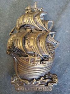 VINTAGE HEAVY BRASS SAILING SHIP DOOR KNOCKER MADE IN ENGLAND