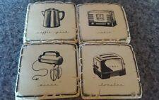 Coasters Vintage look kitchen retro coffee mixer radio toaster drinks set of 4