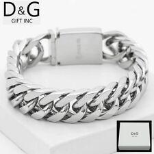 "DG Men's 9"" Silver Stainless Steel 20mm Cuban Curb Buckle Big Bracelet**Box"