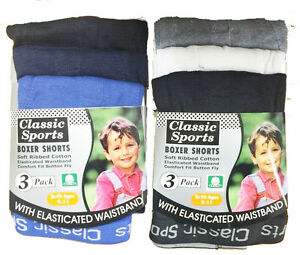 New Boys Kids 3 Pack Classic Sport Plain Soft Ribbed Cotton Boxer Shorts