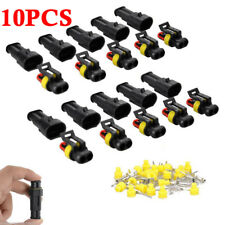 10 Sets Car 2Pin Way Sealed Waterproof Electrical Wire Harness Connector Plug