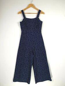 'Temt' Size 8 Navy White Polka Dot Culottes Cropped Suspender Jumpsuit