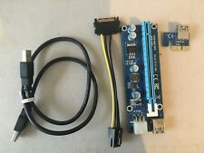 USB 3.0 PCI-E Express Extender Riser Card Adapter SATA Power Cable used 2ft usb