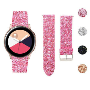 For Samsung Galaxy Watch Active 1 2 40MM 44MM Band Leather Glitter Wrist Strap