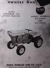 Sears db David Bradley 725 Lawn Garden Tractor & Mower Owner & Parts (2 Manuals)