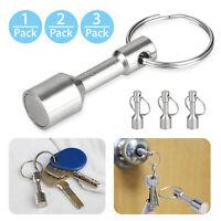 1/2/3pcs Strong Metal Neodymium Magnet Keychain Split Ring Pocket Keyring Holder