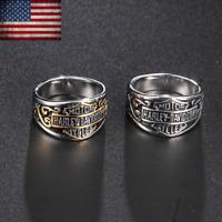 2020 Harley Davidson Biker Bar & Shield Stainless Steel Band Ring Size 6-15 Mens