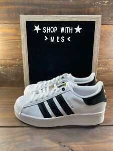 NEW adidas Originals Superstar Bold W White Black Gold Women Casual Shoes FV3336