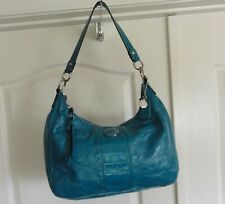 PRE-OWNED COACH STITCH SIGNATURE TURQUOISE SHOULDER BAG