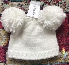 NEW Carter's Winter Hat Pom Pom Baby Girl White Knit Size 3-9 Months Large Pom