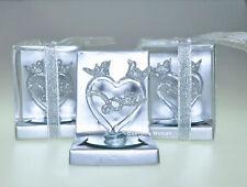 12 PC CRYSTAL WEDDING GLASS PARTY FAVORS BODA RECUERDOS HEART KISSING DOVE Love