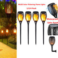 1-4X 96 LED Solar Power Torch Light Flickering Flame Garden Waterproof Yard Lamp