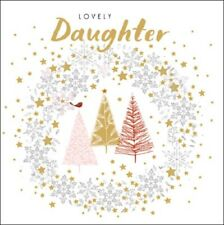 Lovely Daugther Robin & Trees Christmas Card Glittered Xmas Cards