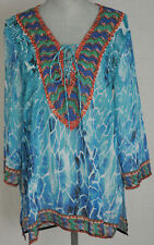 New BOSTON PROPER Watercolor Rhinestone Tunic Swim Cover Up - Sz Small $119