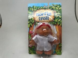 NORFIN TROLL--(ADOPT A)-NURSE WHITE SCRUBS-RED HAIR--1986-SEALED ON CARD