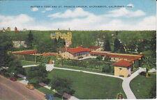 Sutter's Fort, St Francis Church, Sacramento, CA, Linen Postcard