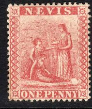 St Kitts-Nevis 1867 pale-red 1d white paper perf 15 mint SG9