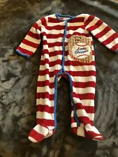 Mud Pie Baseball Long Sleeve One Piece 0-6 Months Striped Red