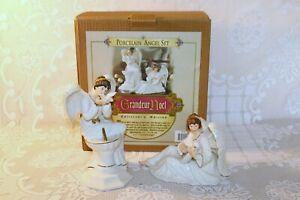 Grandeur Noel 2000 Porcelain Angel Set N0192 Set of 2 in Original Box