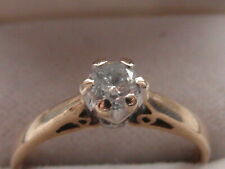 294E LADIES 9CT GOLD 0.25 CARAT DIAMOND SOLITAIRE ENGAGEMENT RING SIZE N 1/2