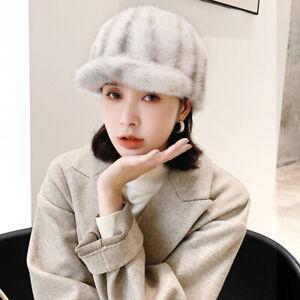 New Style Womens Real Mink Fur Hat Princess Peaked knight Horsewoman Visor Cap