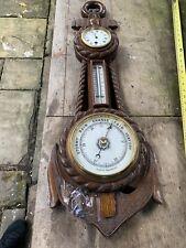 More details for vintage large   oak carved wooden antique aneroid barometer