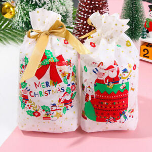 12/24x Multi Christmas Gift Candy Bags Cookie Sweet Drawstring Packing Stocking