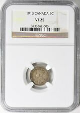 1913 CANADA SILVER FIVE CENTS 5C GEORGE V NGC VF25