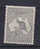 K770) Australia 1918 Kangaroo 2d Grey 3rd wmk Die I variety watermark inverted