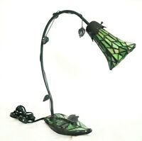 Vintage Arched Dragonfly Bronze/Stained Glass Lily Pad Lamp