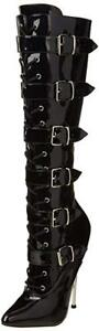 Pleaser Women's DAGGER-2042 Black Platform Knee Boot Size 5