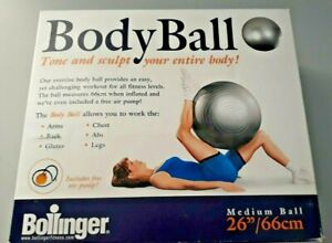 """NEW BOLLINGER Silver BODY BALL 26"""" / Medium Includes Air Pump Exercise Workout"""