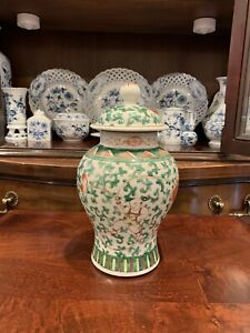 ANTIQUE CHINESE PORCELAIN VASE WITH LID - PORCELAIN - GREEN - CHIP ON LID