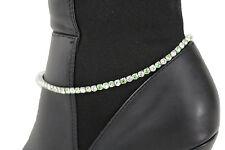 Thin Women Silver Metal Chain Boot Bracelet Shoe Charm Jewelry Green Rhinestones