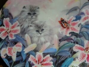 W S George Collectors Plate FLOWERING FASCINATION From PETAL PETS Persian Kitten