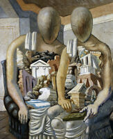 GIORGIO DE CHIRICO The Archaeologists (1927) (62x50), CANVAS, POSTER FREE P&P