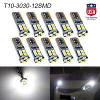 10x Canbus T10 3030 12 SMD LED White Car Side Light Lamp License Plate Bulbs US