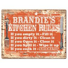 PPKR0989 BRANDIE'S KITCHEN Rustic Chic Sign Funny Kitchen Decor Birthday Gift