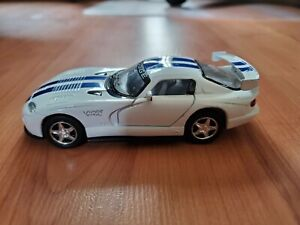"""Kinsmart 6"""" Dodge Viper GTS R 1:36 Diecast Toy Car White with Blue Stripes"""